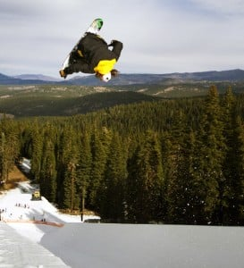 LAKE TAHOE rider Danny Davis performs aerial tricks on the new 22-foot high Shaun White Superpipe located at Northstar off of Cat's Face Trail. Courtesy of Northstar California Ski Resort