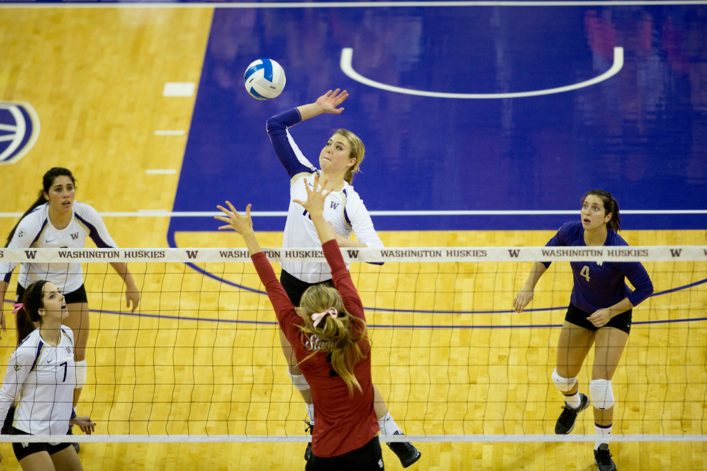 University of Washington volleyball team defeats Stanford 3-2 at Alaska Airlines Arena